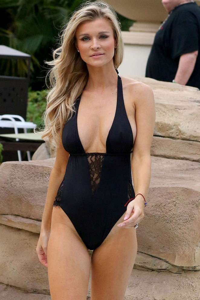 Joanna Krupa in Black Swimsuit at the Hard Rock Hotel in Seminole