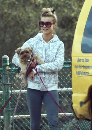 Joanna Krupa with her dogs at a park in Hollywood
