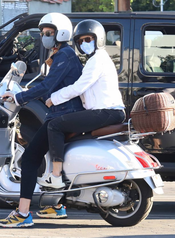 Jodie Foster - On a Vespa scooter in West Hollywood