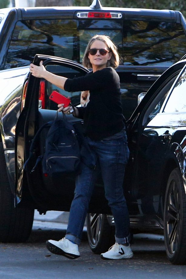 Jodie Foster - Wearing a fox sweater while running errands in Los Angeles