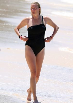Jodie Kidd in Black Swimsuit at the beach in Barbados