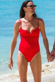 Jodie Kidd in Red Swimsuit on the beach in Barbados