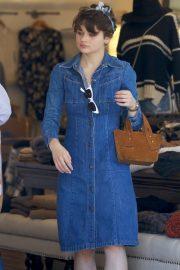 Joey King in Jeans Dress - Shopping in LA