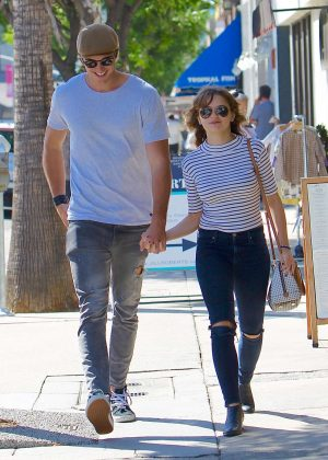 Joey King with a mystery man in Studio City