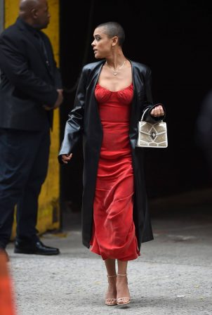 Jordan Alexander - In a red dress on the set in New York
