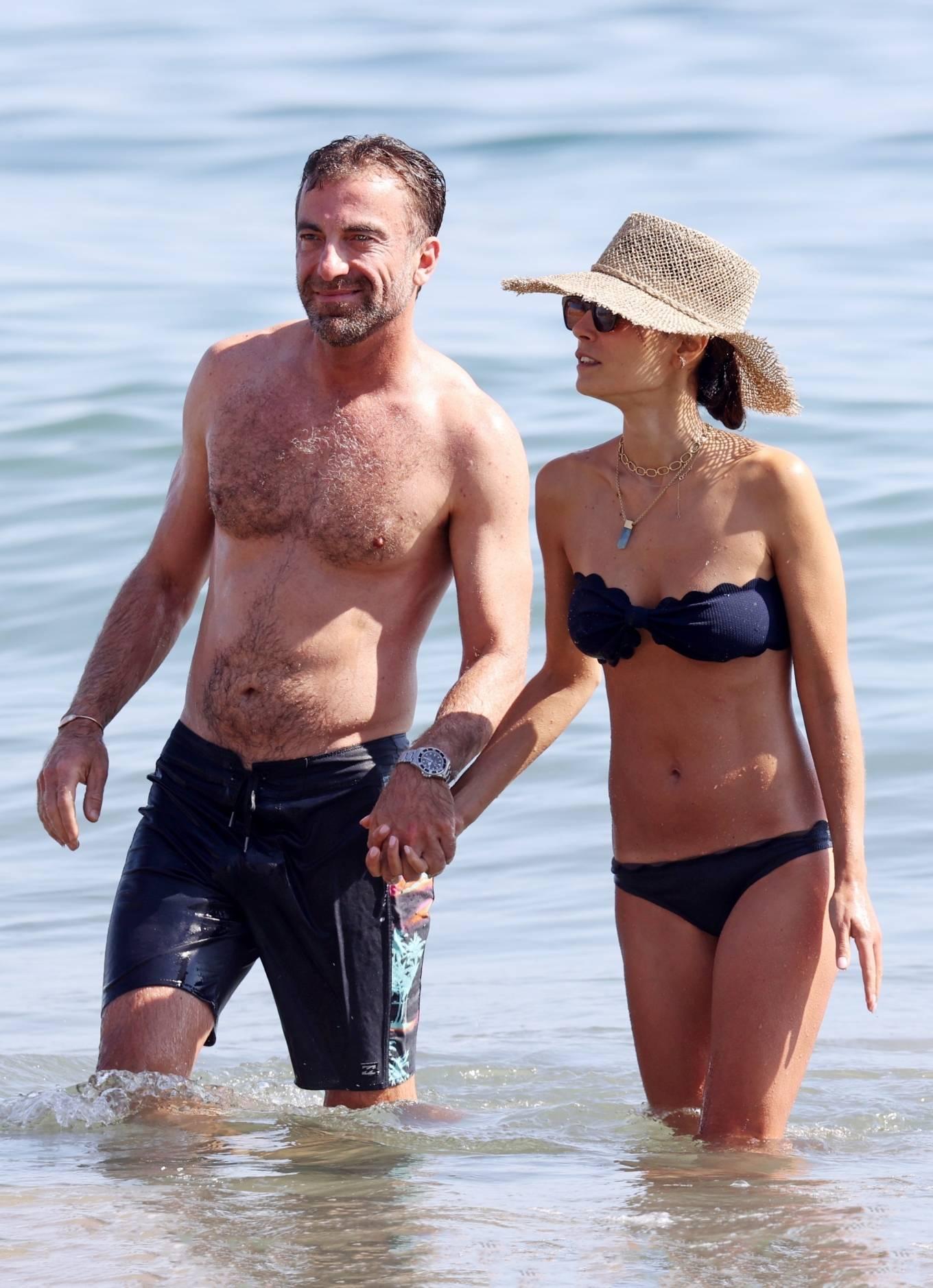 Jordana Brewster - Bikini candids with her boyfriend on the beach in Malibu
