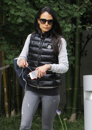 Jordana Brewster in Leggings at Gym in Brentwood