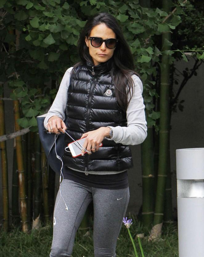 Jordana Brewster in Leggings at Gym in Brentwood