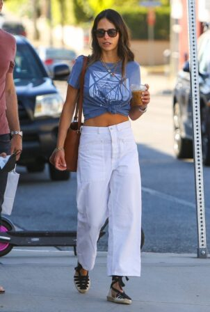 Jordana Brewster - In a midriff-baring top out in Brentwood