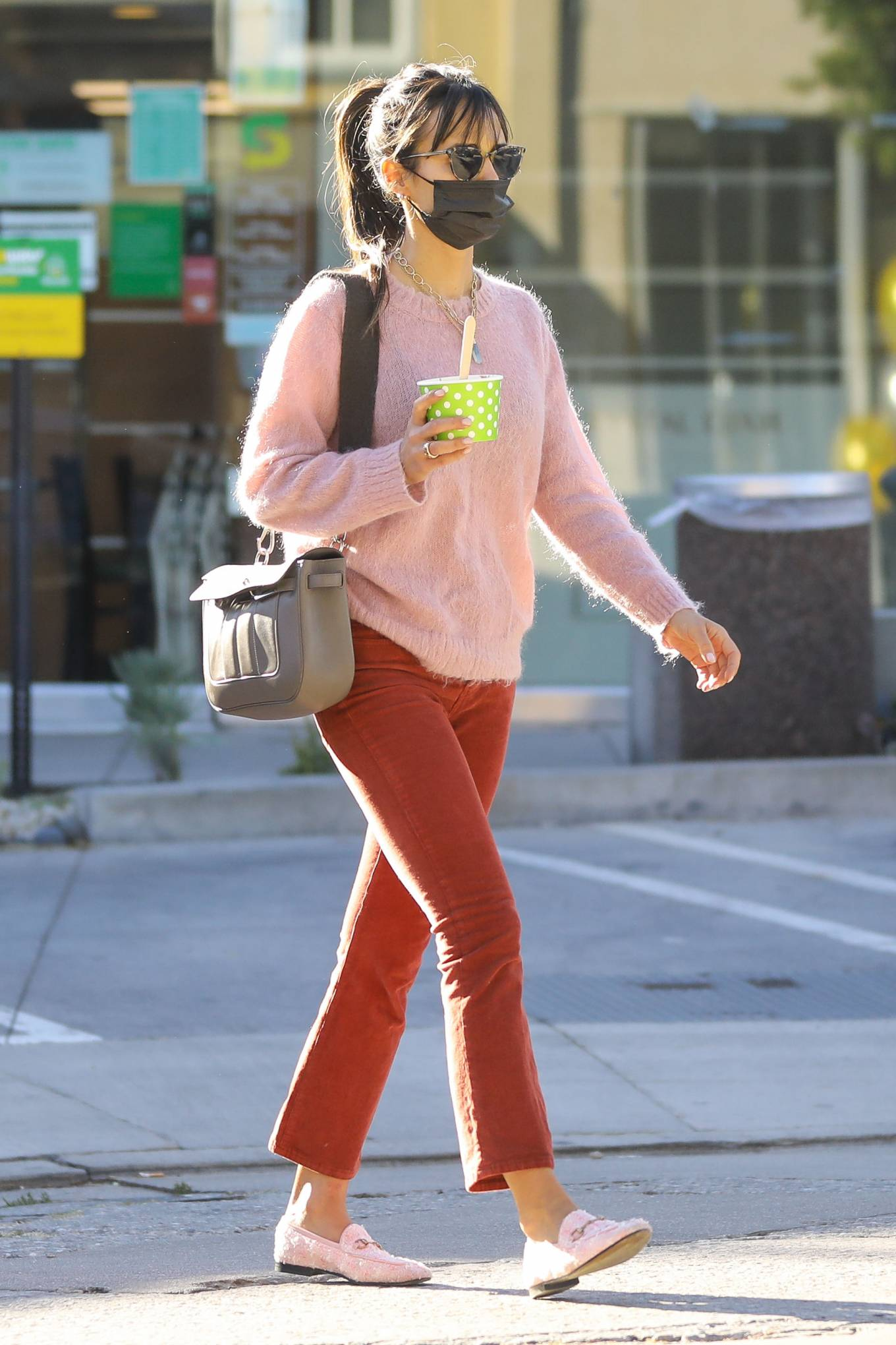 Jordana Brewster - In a pink sweater out in L.A.