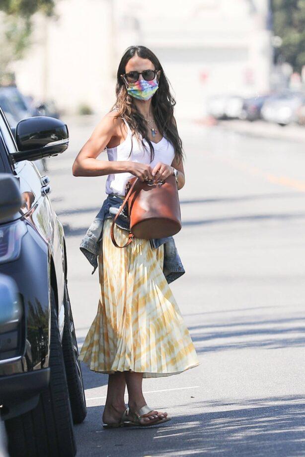 Jordana Brewster - In a yellow maxi skirt in Beverly Hills