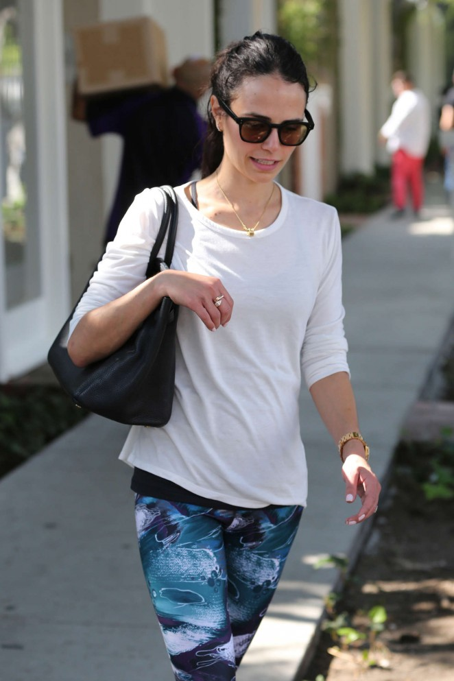 Jordana Brewster in Blue Tights out in West Hollywood