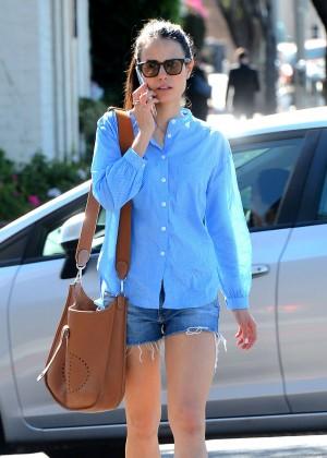 Jordana Brewster in Denim Shorts Shopping in Beverly Hills