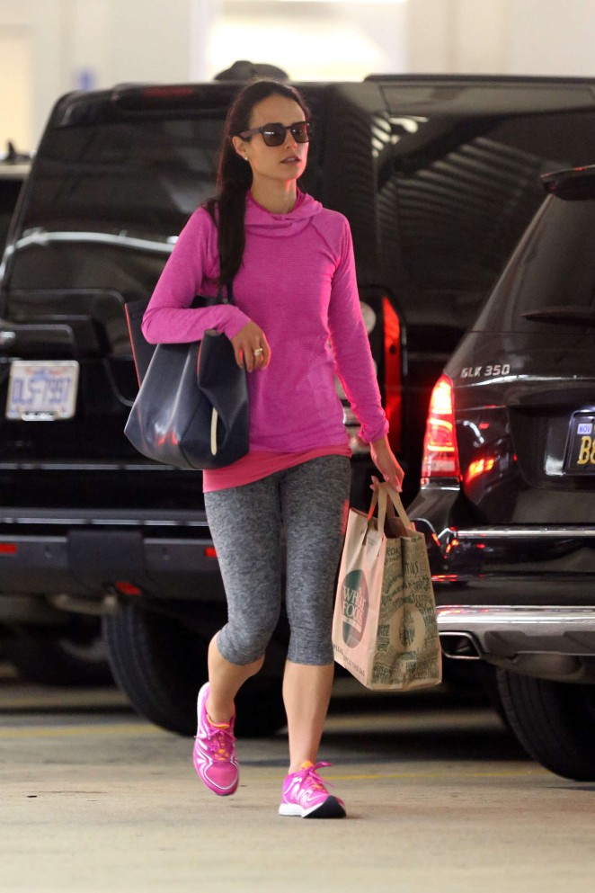 Jordana Brewster in Leggings at Whole Foods in Beverly Hills