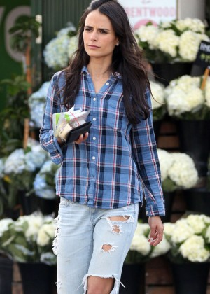 Jordana Brewster in Ripped Jeans at Whole Foods in Brentwood