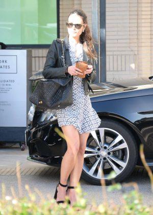Jordana Brewster in Short Dress at Barneys in Beverly Hills
