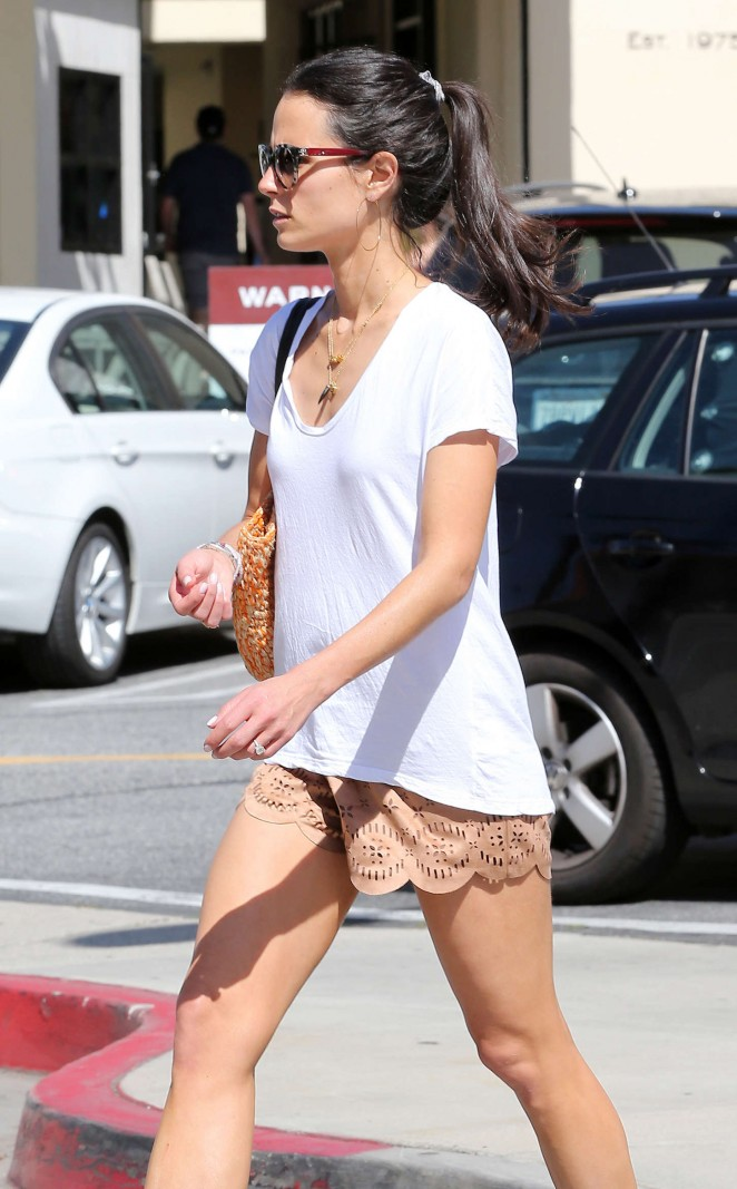 Jordana Brewster in Shorts Out in Brentwood