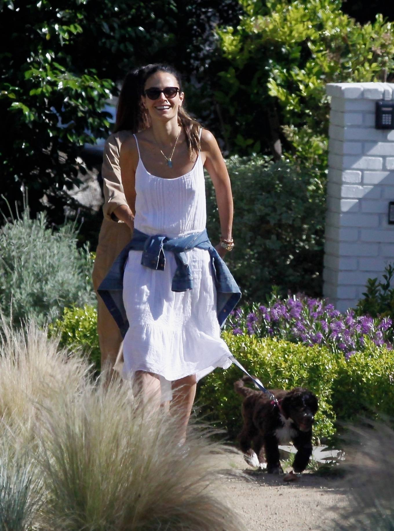 Jordana Brewster in White Dress - On a walk in Pacific Palisades