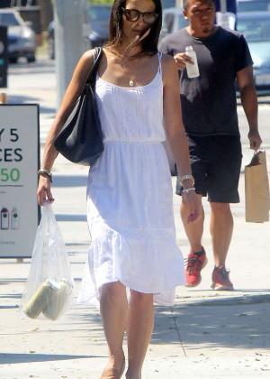 Jordana Brewster in White Dress Out in LA