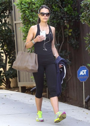 Jordana Brewster in Tights Leaving the gym in West Hollywood