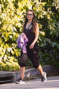 Jordana Brewster - Looking sporty on Her Walk