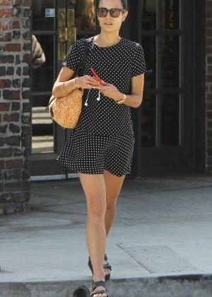 Jordana Brewster in Mini Dress Out in Brentwood
