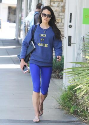 Jordana Brewster in Blue Leaggings Out in Santa Monica