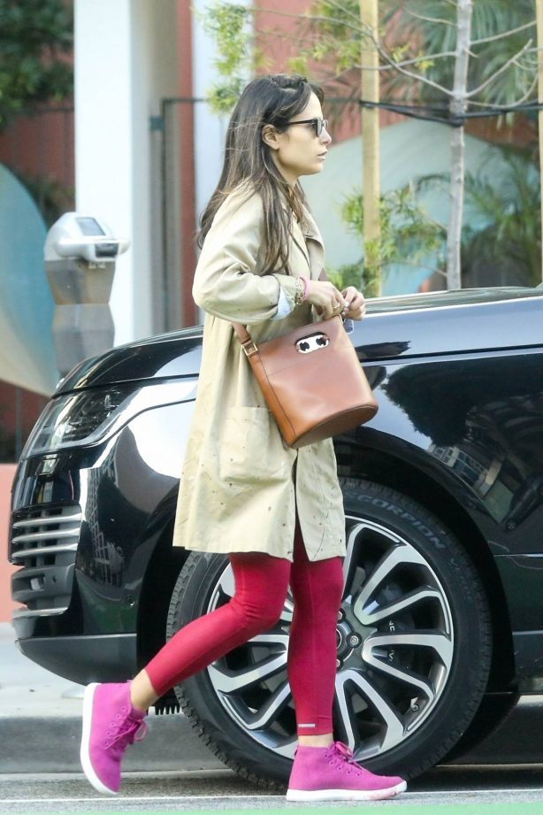 Jordana Brewster - Out in red leggings in Santa Monica
