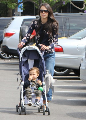 Jordana Brewster - Out with her son in Brentwood
