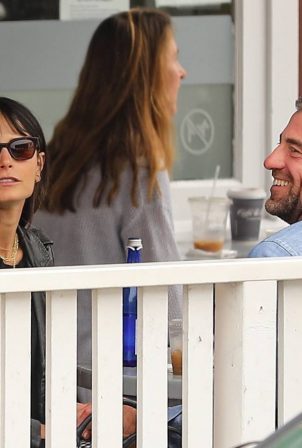 Jordana Brewster - Seen on a coffee with Mason Morfit in Brentwood