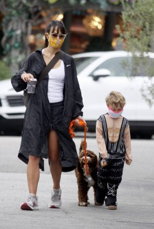 Jordana Brewster - Seen with her dog and son in Los Angeles