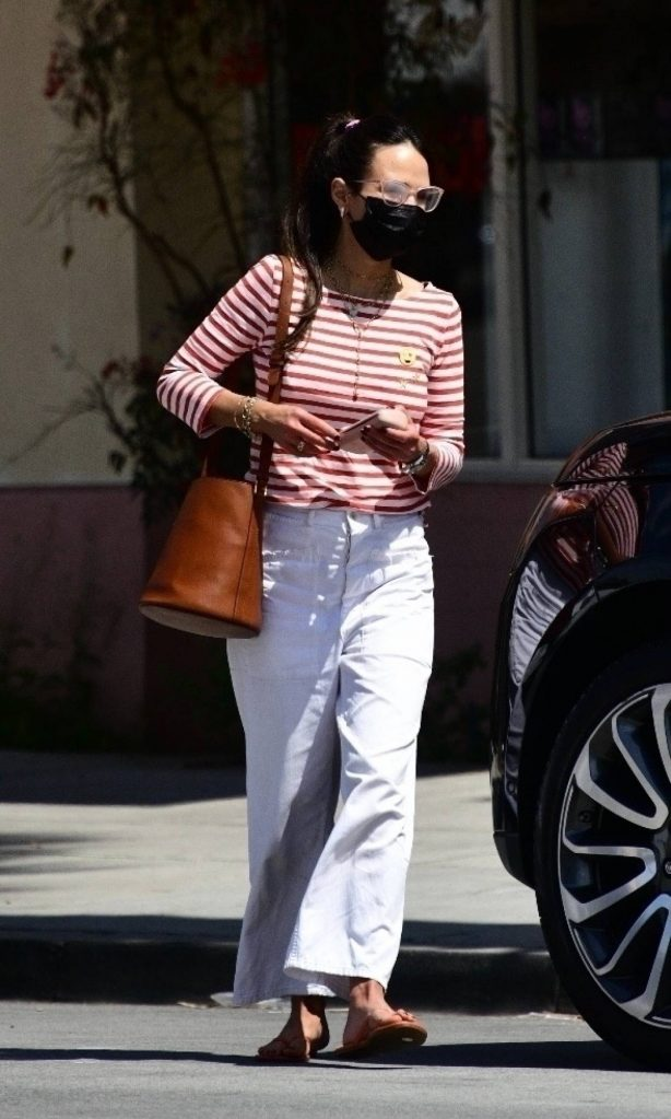 Jordana Brewster - takes her mini-me to run errands in Santa Monica