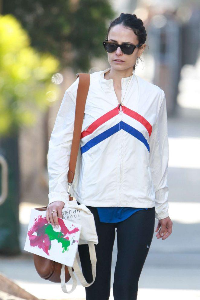 Jordana Brewster walking back to her car in LA