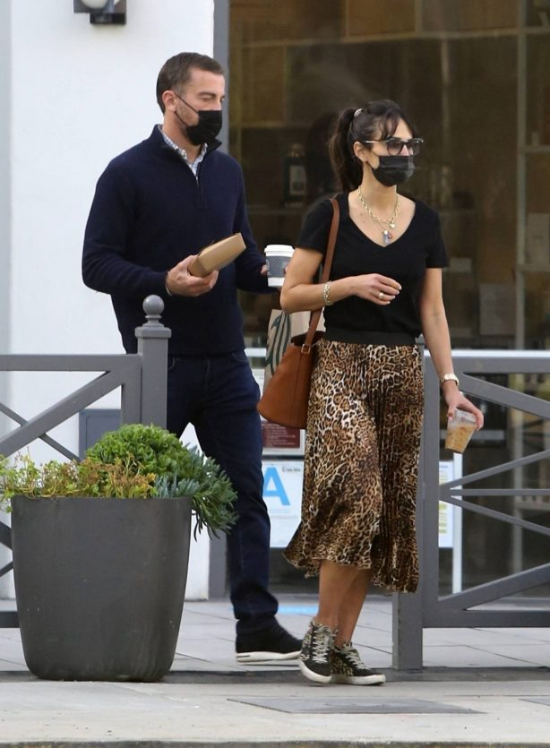Jordana Brewster - Wears a leopard print skirt while out in Los Angeles