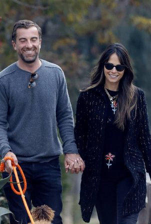 Jordana Brewster - With her boyfriend Mason Morfit and his dog in Los Angeles