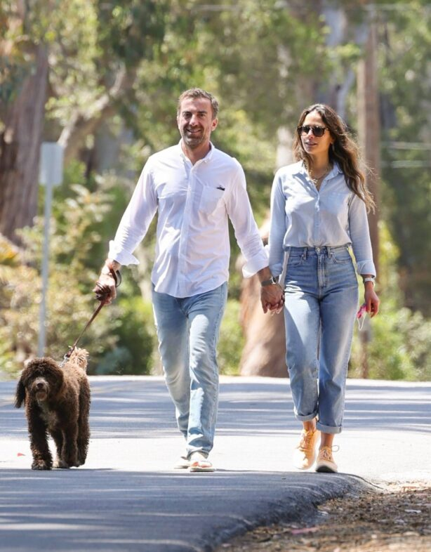 Jordana Brewster - With Mason Morfit hold each other's hands in Santa Barbara