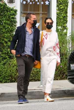 Jordana Brewster - With Mason Morfit in Brentwood at Caffe Luxxe