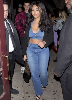 Jordyn Woods in Denim Outfit at Peppermint Night Club in West Hollywood
