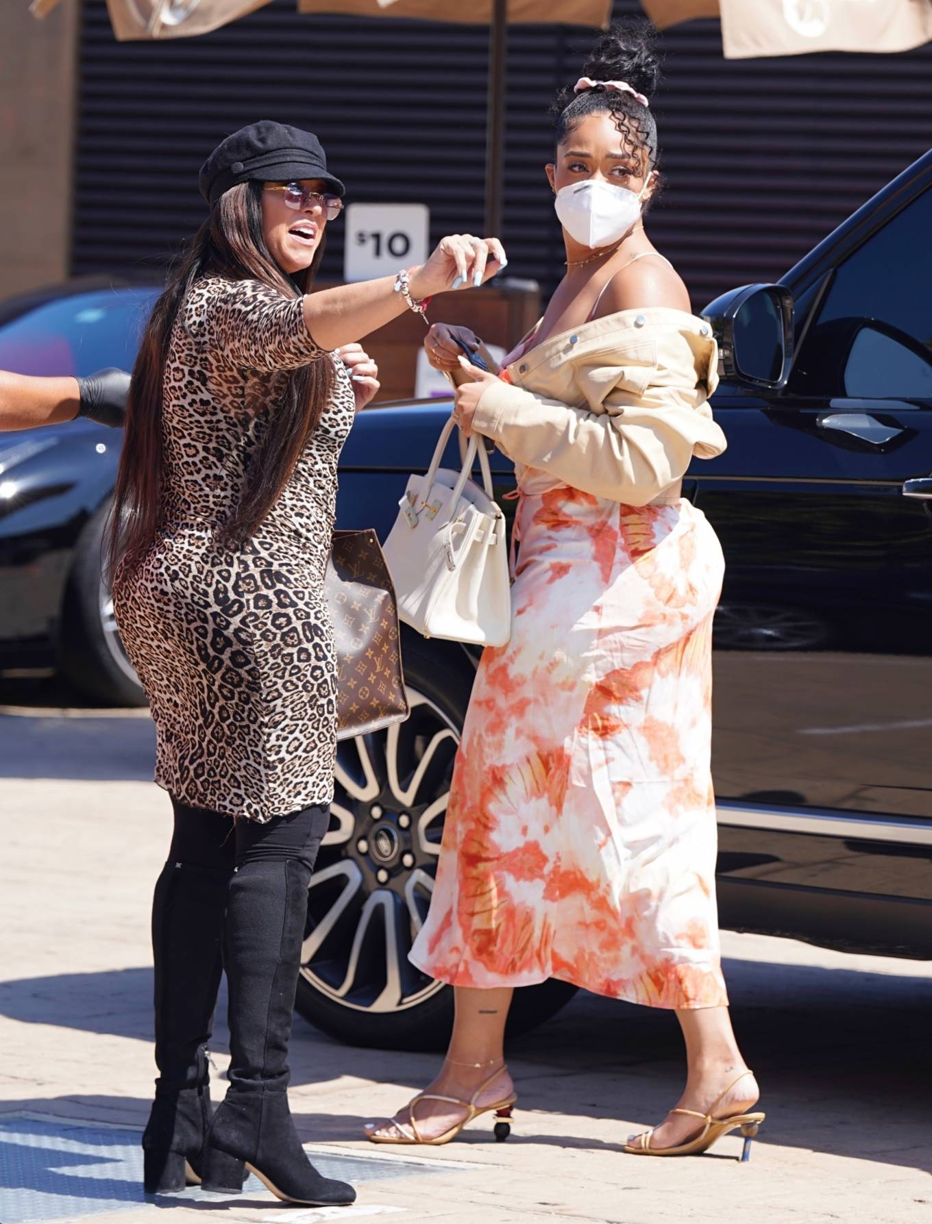 Jordyn Woods with her mother and sister at Nobu in Malibu