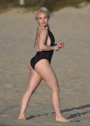 Jorgie Porter in Black Swimsuit on Malibu Beach