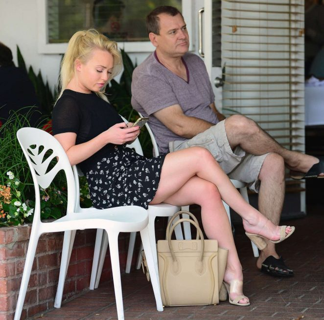 Jorgie Porter in mini skirt at Fred's Cafe in Los Angeles