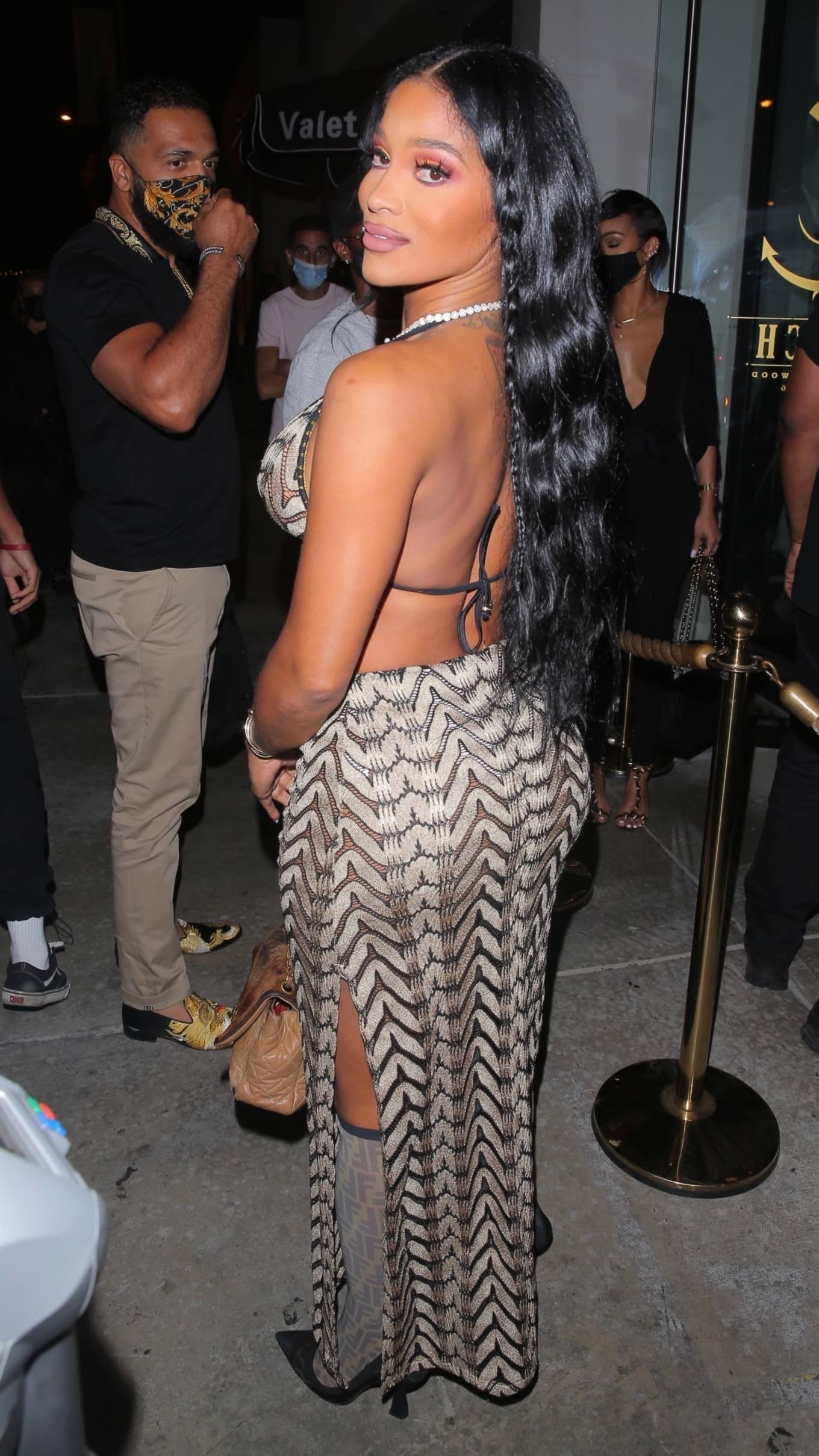 Joseline Hernandez 2021 : Joseline Hernandez – Seen at dinner with husband DJ Ballistic at Catch LA in West Hollywood-19