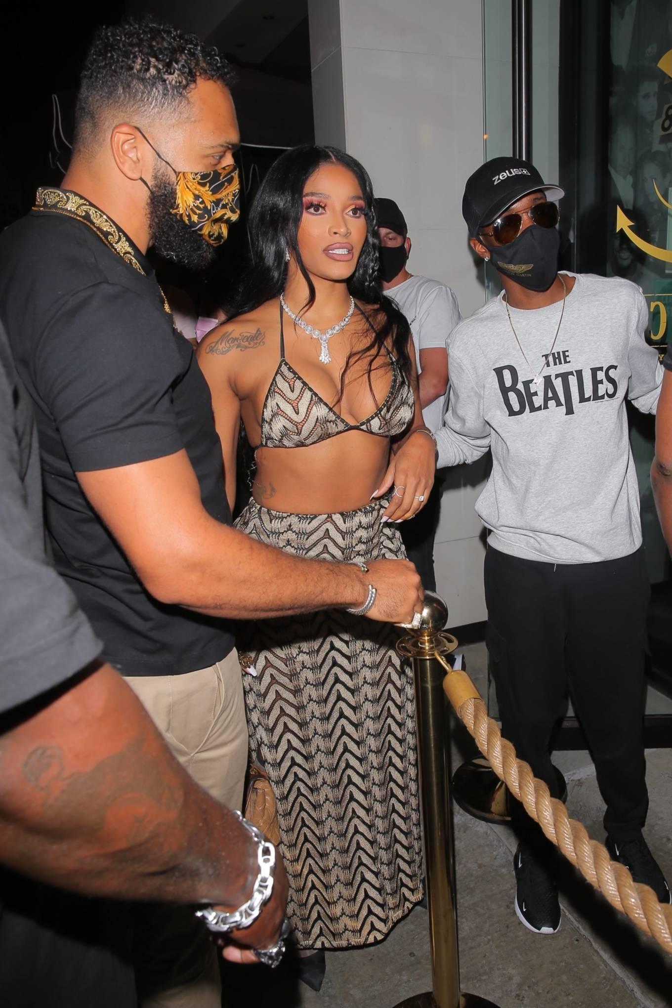 Joseline Hernandez 2021 : Joseline Hernandez – Seen at dinner with husband DJ Ballistic at Catch LA in West Hollywood-28
