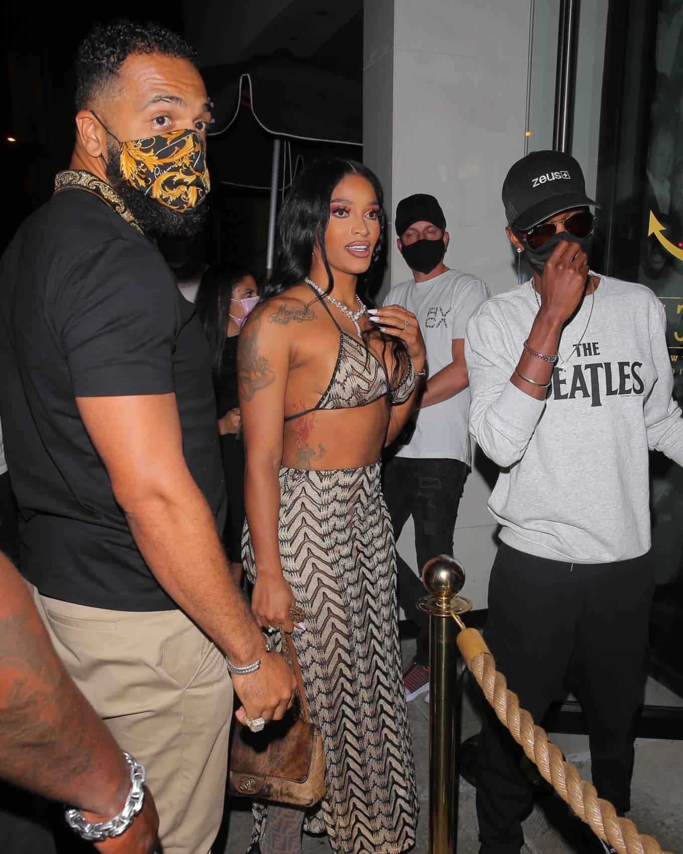 Joseline Hernandez 2021 : Joseline Hernandez – Seen at dinner with husband DJ Ballistic at Catch LA in West Hollywood-29