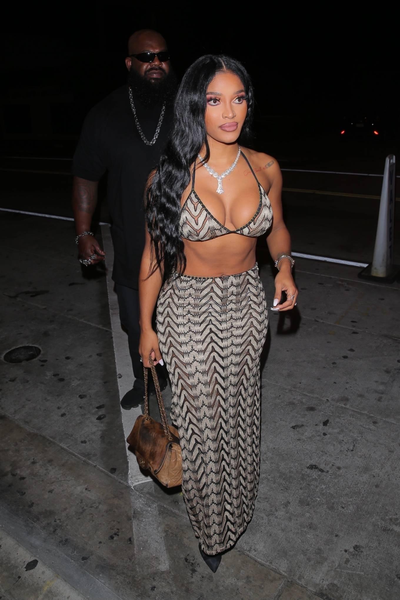 Joseline Hernandez 2021 : Joseline Hernandez – Seen at dinner with husband DJ Ballistic at Catch LA in West Hollywood-37