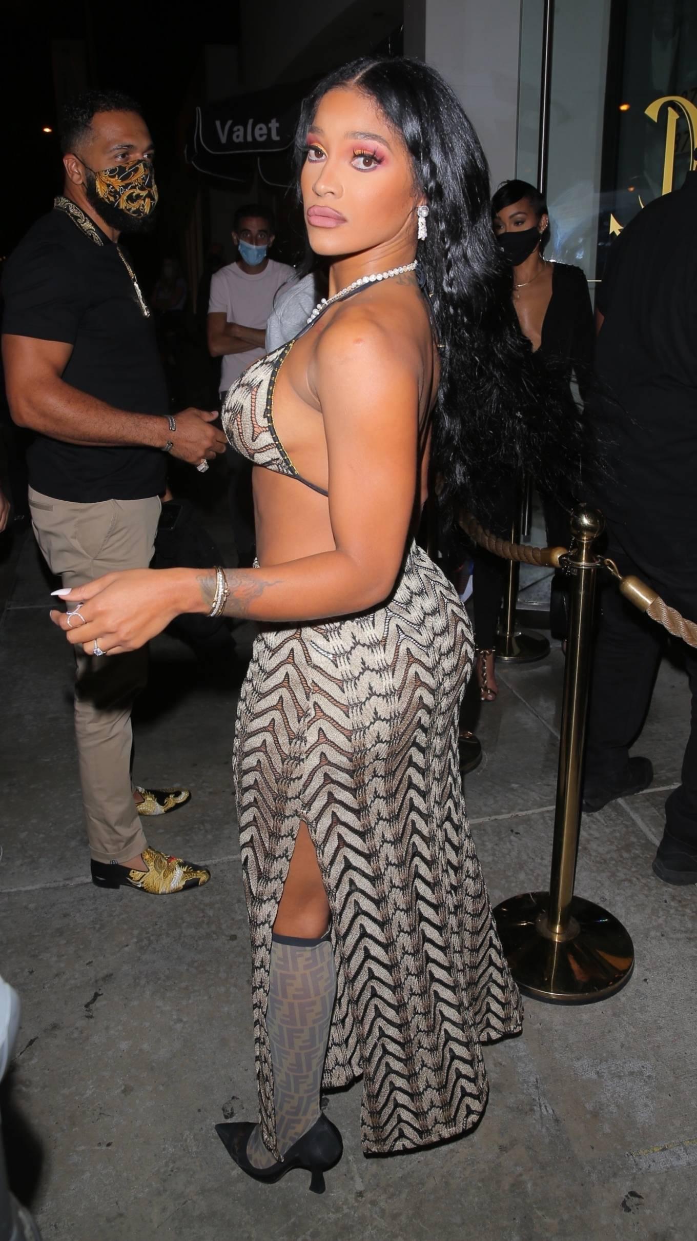 Joseline Hernandez 2021 : Joseline Hernandez – Seen at dinner with husband DJ Ballistic at Catch LA in West Hollywood-45