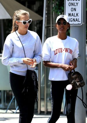 Josephine Skriver and Jasmine Tookes at Villa Blanca in Beverly Hills