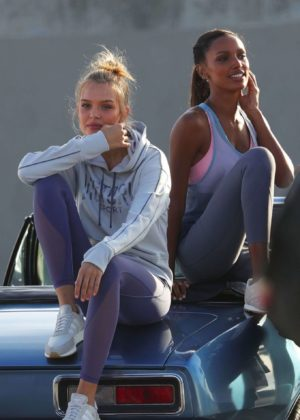 Josephine Skriver and Jasmine Tookes - Victoria's Secret Photoshoot in Venice Beach