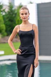 Josephine Skriver - In a Long Black Dress at Hamptons Magazine Celebration of Fall Fashion Issue