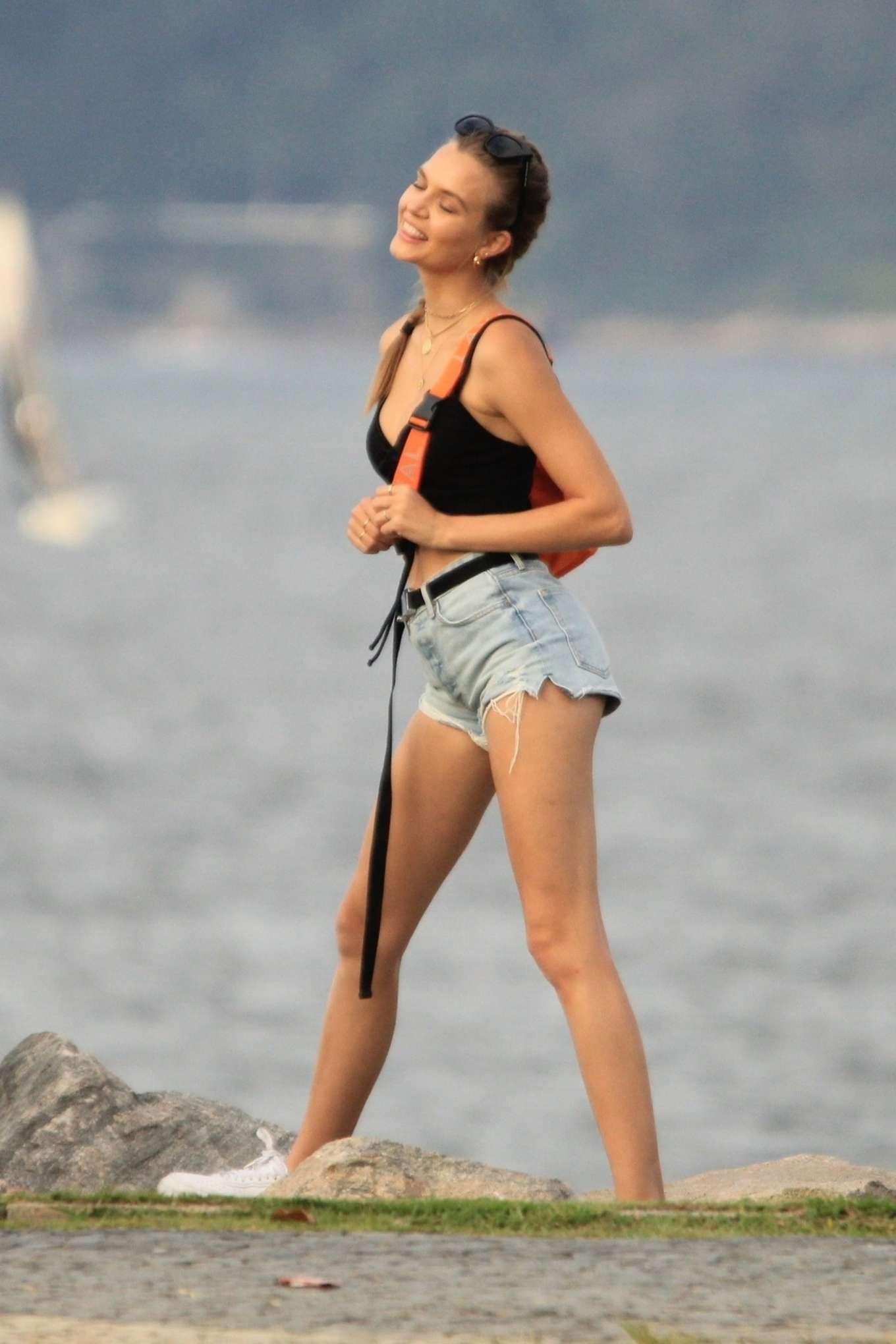 Josephine Skriver in Denim Shorts - Posing for pictures in Rio de Janeiro